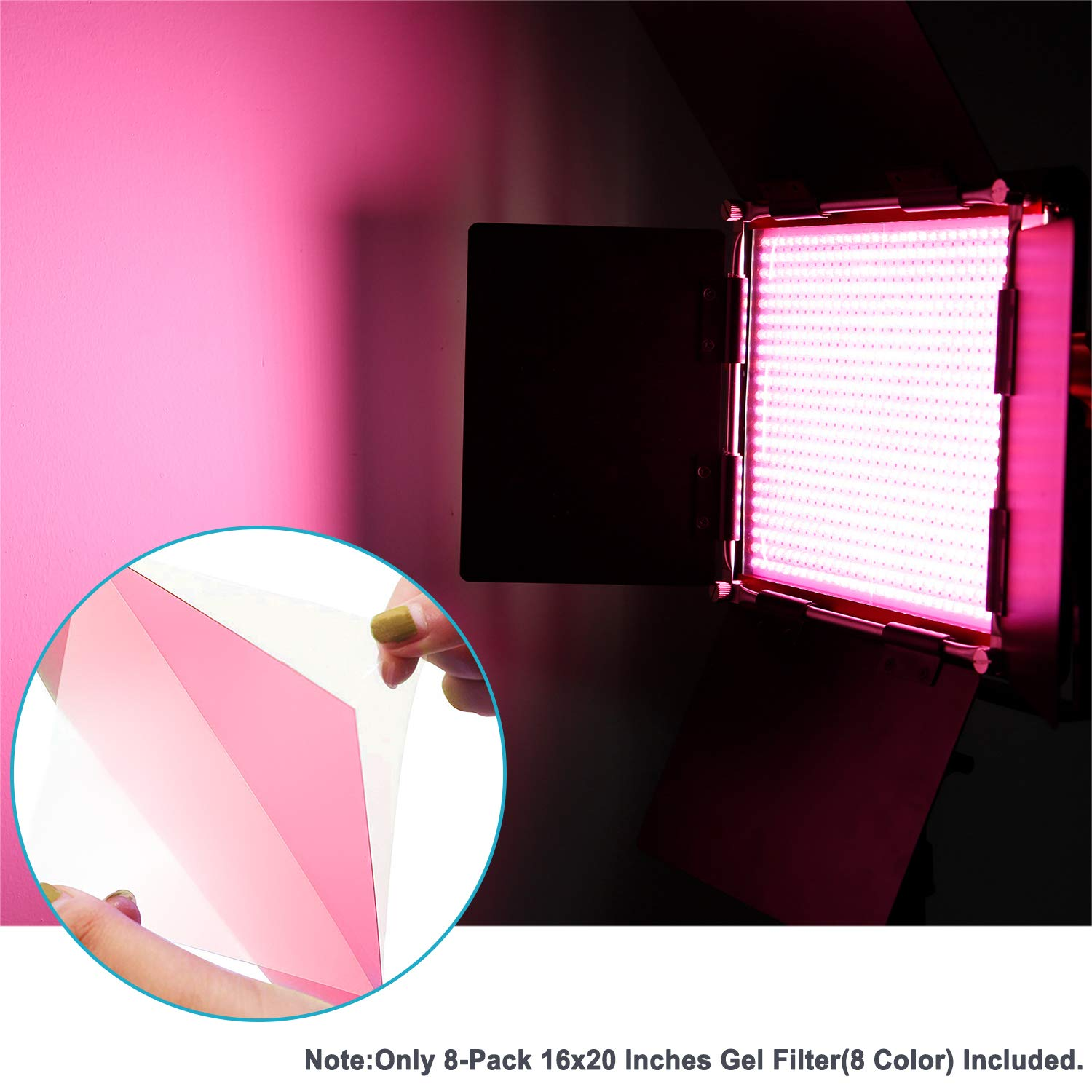 Neewer 8 Pieces Gel Color Filter with 8 Colors -16x20 inches Transparent Color Film Plastic Sheets, Correction Gel Light Filter for Photo Studio Strobe Flash, LED Video Light, DJ Light, etc. by Neewer (Image #2)