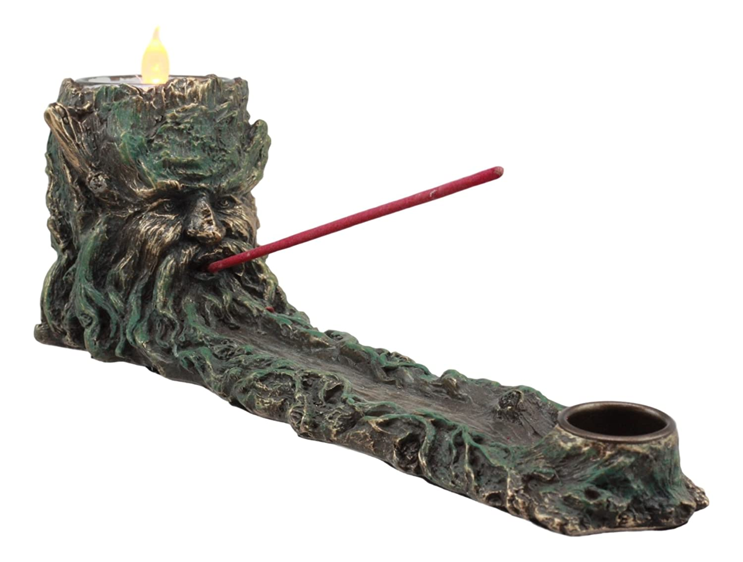 """Ebros Mystic Wisteria Forest Ent Nature Tree God Greenman Votive Candle Holder And Incense Stick And Cone Burner Statue 11""""Long Forest Puffs Greenman Home Decor"""
