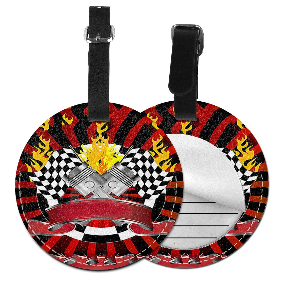 Free-2 2019 Racing Checkered Flag Luggage Tag 3D Print Leather Travel Bag ID Card