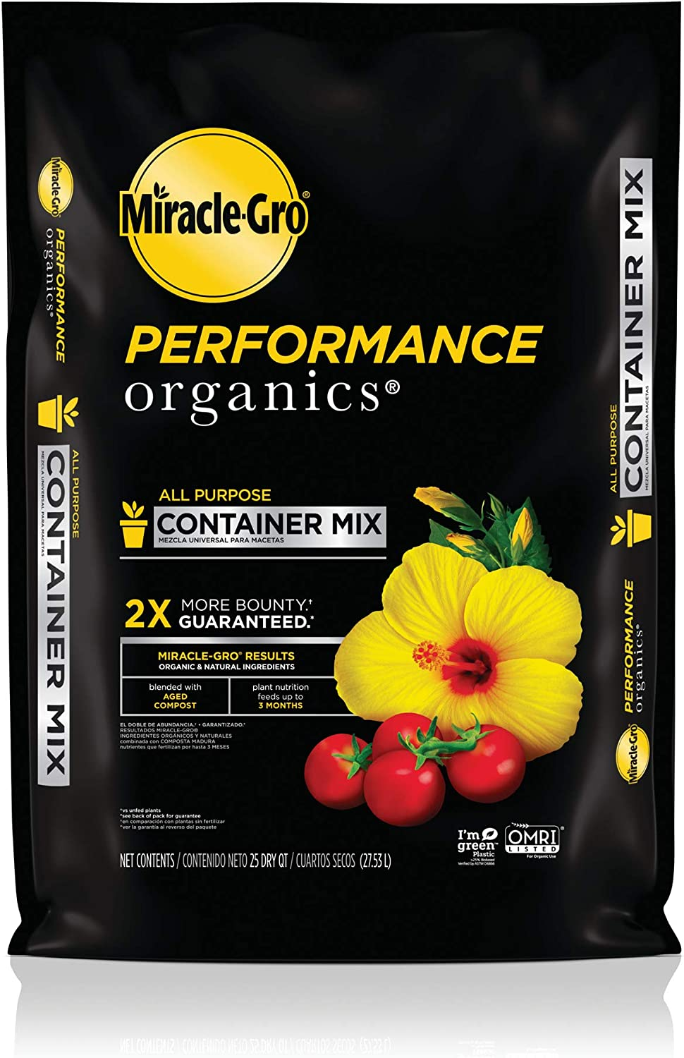 Miracle-Gro Performance Organics All Purpose Container Mix, 25 qt. - Organic, All Natural Plant Soil - Feed for up to 3 Months - All-Purpose Formula for Vegetables, Flowers and Herbs