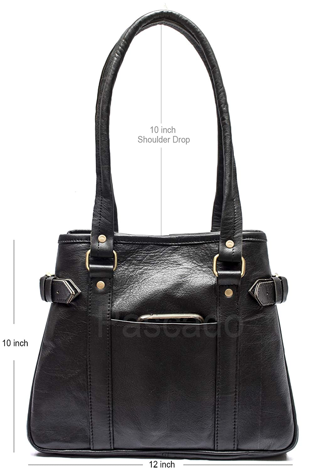 Pascado womens Black small Genuine leather tote purse top handle shoulder vintage bag with pockets