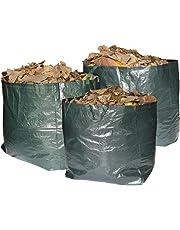 Bolsas de basura Max Strength de primera calidad para jardín. Juego de 3 bolsas reutilizables con asas. 272 litros de capacidad por bolsa, resistentes e impermeables. Para recoger hierba & hojas.