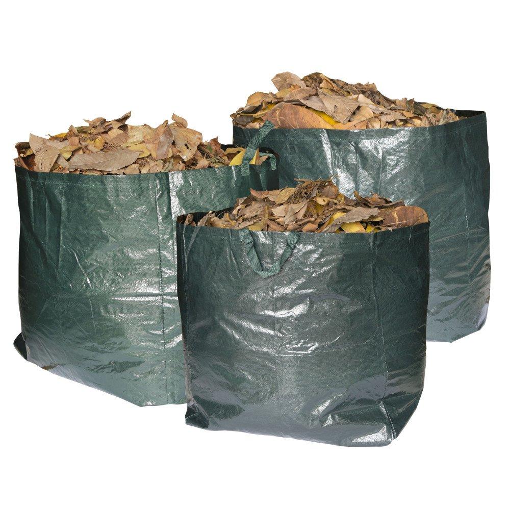 Max Strength, sacchi per rifiuti da giardino, sacchetti riutilizzabili con manici, 272 litri di capacità per sacco, resistenti e impermeabili, perfetti per erba, foglie, alberi, piante, fiori, erbacce, siepi e cespugli, confezione da 3 pezzi