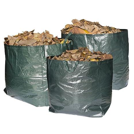 Bolsas de basura Max Strength de primera calidad para jardín. Juego de 3 bolsas reutilizables con asas. 272 litros de capacidad por bolsa, resistentes ...