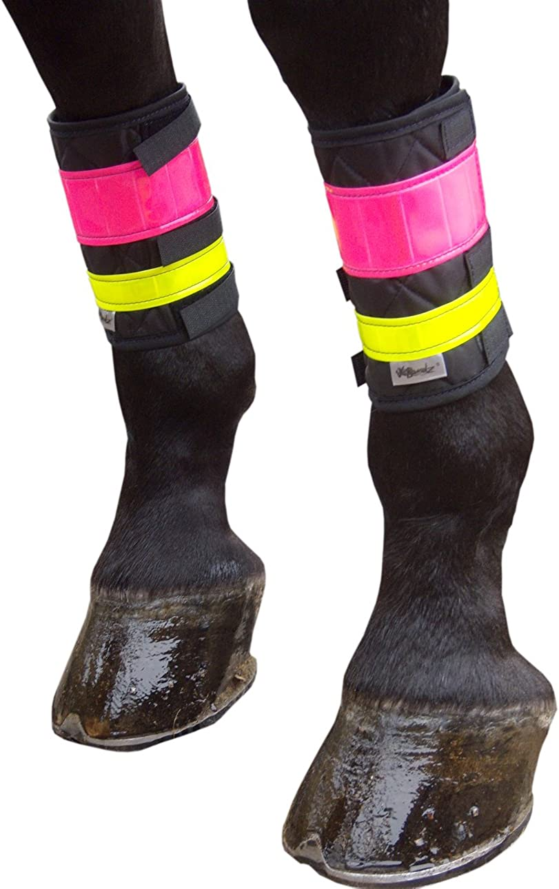 """V BANDZ DELUXE PONY LEG REFLECTOR BANDS FIT OVER BRUSHING BOOTS UP TO 12"""" HORSE"""