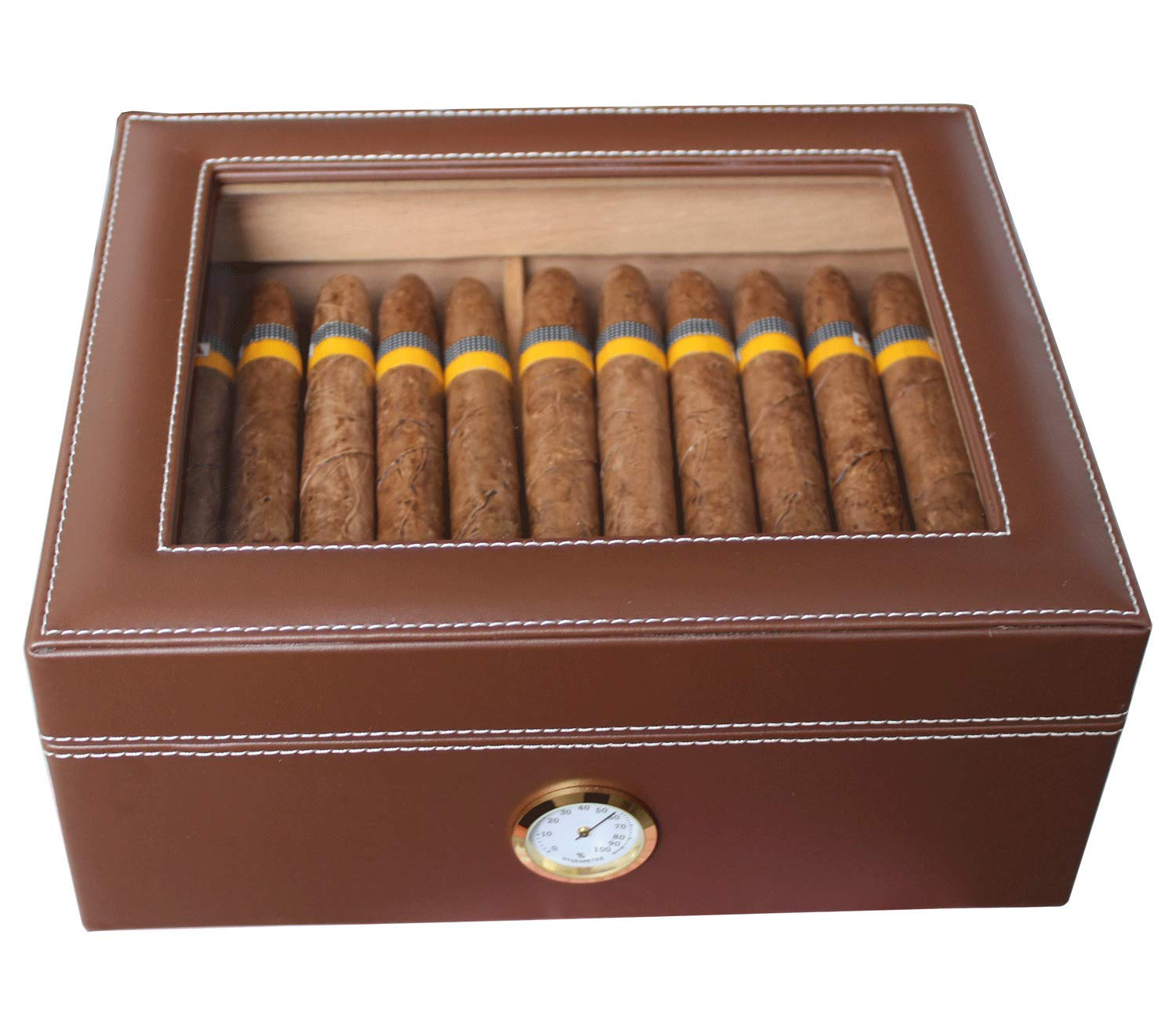 AMANCY Quality Brown Leather Handmade 25-50 Cigar Humidor ,Desktop Cedar Wood Lined Cigar Storage box with Glasstop