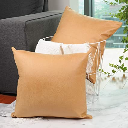 CZHO Pack of 2, Soft Decorative Faux Leather Pillow Covers, Square Modern Outdoor Cushion Case, Durable Rustic Throw Pillow Cover Shell for Couch Sofa Bed 18x18 Inch (Tan Yellow)