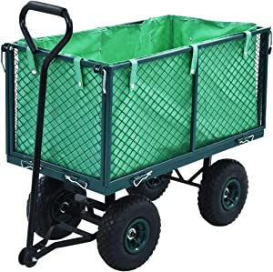 vidaXL Utility Wagon Farm and Heavy Duty Cart with Removable Folding Sides,771.6 lbs Load Capacity,Perfect for Garden Shopping and Park Picnic, Beach Trip and Camping (Cart Liner is not Included)