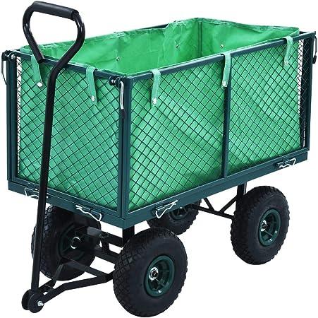 UnfadeMemory Carrito para Jardín para Tareas de Jardinería,Carretilla de Mano para Transportar Flores Hojas Troncos,Acero Verde,Capacidad 350kg: Amazon.es: Hogar