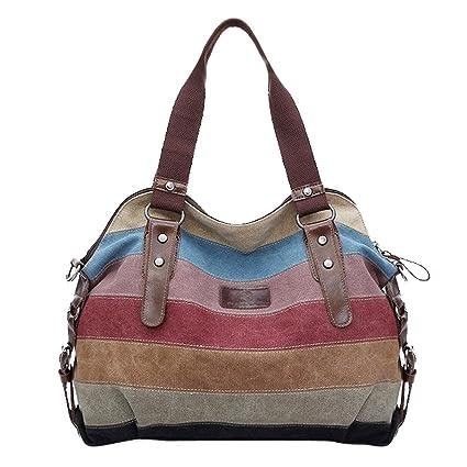 6c813d0002f Image Unavailable. Image not available for. Color  Koolertron Fashion  Vintage Women s Shoulder Color block Bag Canvas Tote Messenger Lady s Handbag  Purse