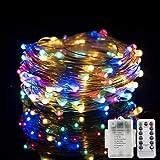 JPSOR イルミネーションライト ワイヤーライト 10m 100個LED電球 4色