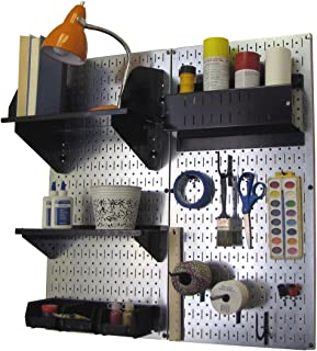 product image for Wall Control Pegboard Hobby Craft Pegboard Organizer Storage Kit with Metallic Pegboard and Black Accessories