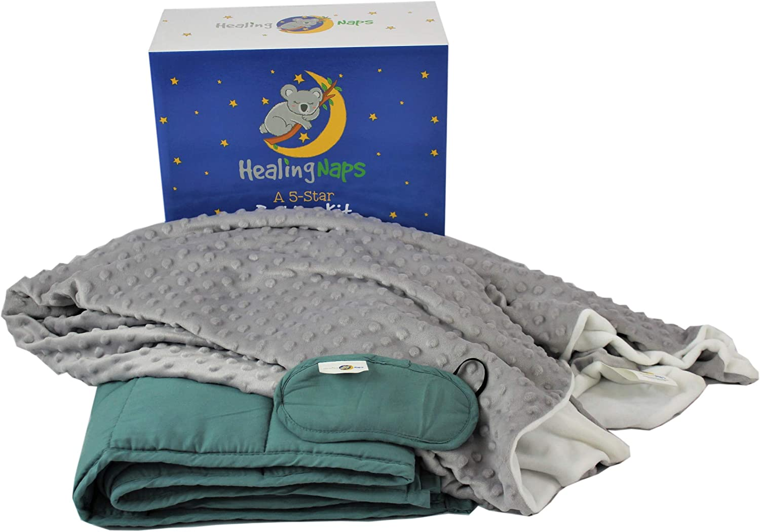 5 lb Premium Bamboo Weighted Blanket Bedding Kit for Kids | 3-Piece Set | 36 X 48 Hypoallergenic Cooling Bamboo Heavy Blanket| Soft Minky Dot Duvet Cover | Light Blocking Sleep Eye Mask
