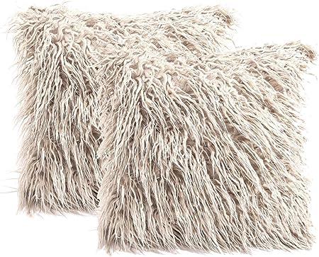 Paquete de 2 Fundas de Pelo para Cojines Blanco 45x45cm