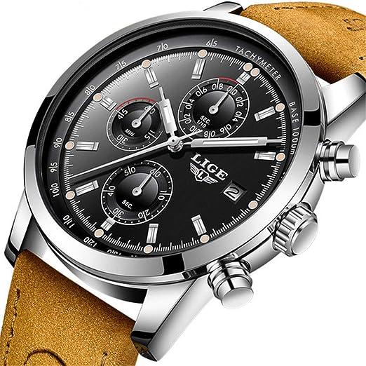 f160e8485d pour Homme analogique Sport Montres Montre chronographe pour Homme Bande de  Cuir Mode Entreprise Montre étanche