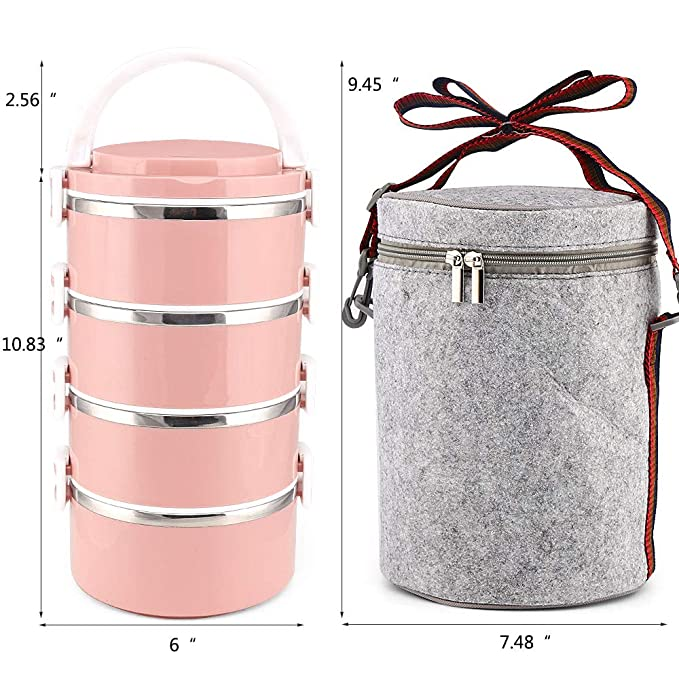 9d8bbe472089 XINGBAO Bento Box, 4-Tier Leakproof Stainless Steel Lunch Container Lunch  Box Food Storage Box with Lunch Bag (Pink)