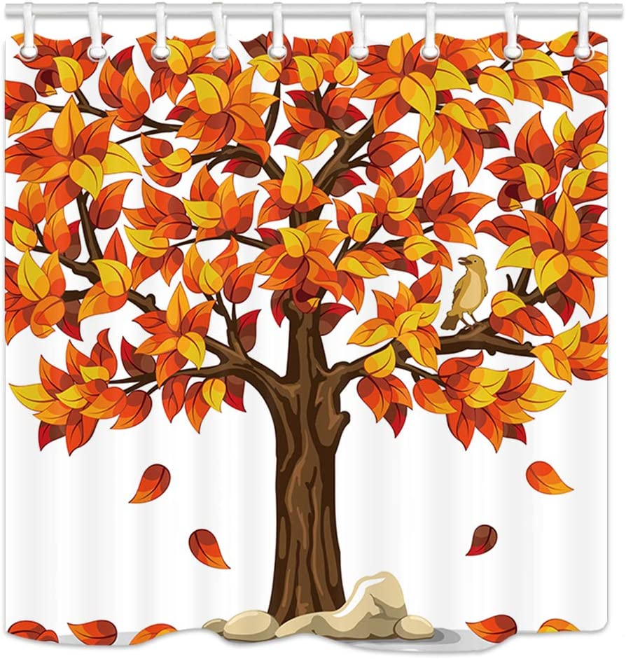 Amazon Com Nymb Autumn Fall Leaves Decor Shower Curtains Cartoon Bird Stand On Brown Wooden Tree Kids Shower Curtain Polyester Fabric Thanksgiving Falling Maple Leaves Bathroom Bath Curtains Set 69x70in Home Kitchen