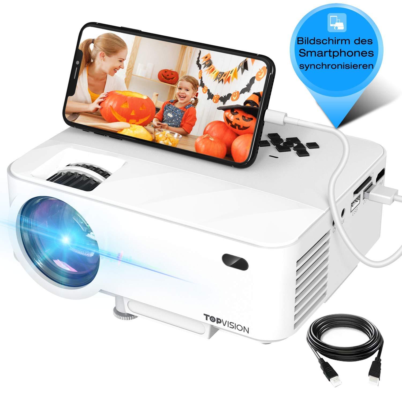 Mini proyector, TOPVISION proyector de video compatible con HDMI ...
