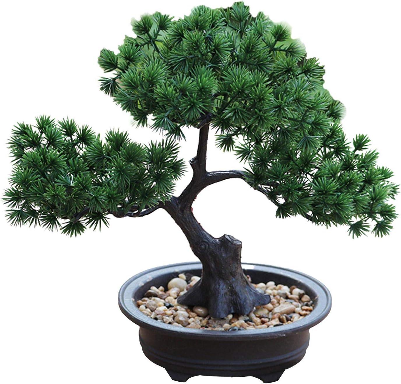 Artificial Bonsai Pine Tree, Fake Desk Plants Room Decor for Desktop Display Simulation Office Living Room Zen Garden Decoration Indoor Home Décor