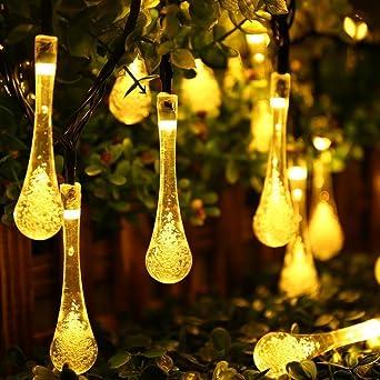 20 30 LED Solar Wassertropf Lichterkette Solarleucht Party Außen Beleuchtung