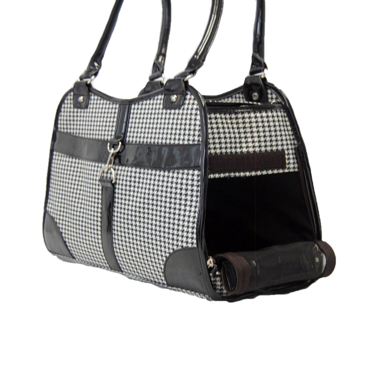 Houndstooth Print Tote Pet Dog Cat Carrier/Tote Purse Travel Airline Bag -Black-Medium by mpet