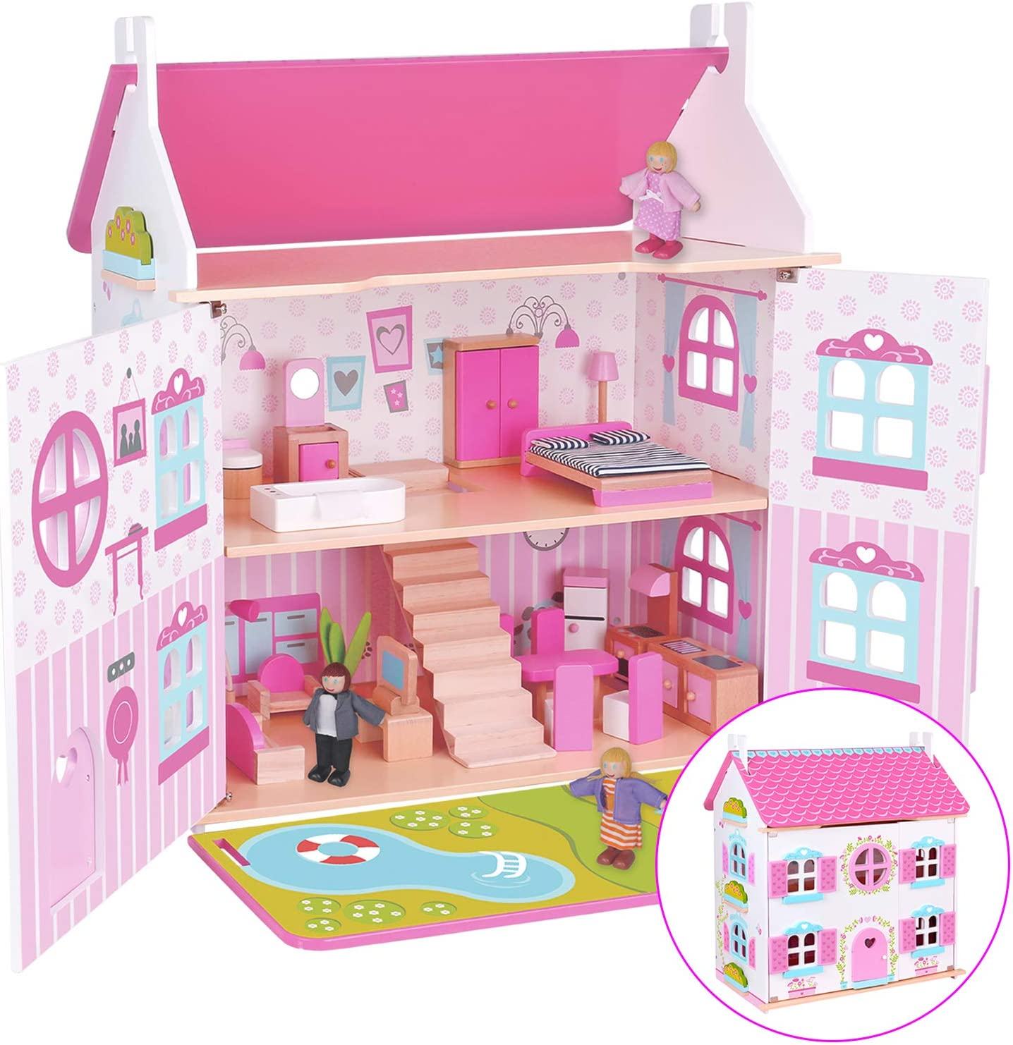 charaHOME Wooden Dollhouse Cottage DreamHouse with Furniture 32 pcs Girl's Doll House Set Pink