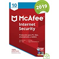 McAfee Internet Security 2019 - Antivirus, PC/Mac/Android/Smartphones, 10 Dispositivos, Suscripción de 1 año