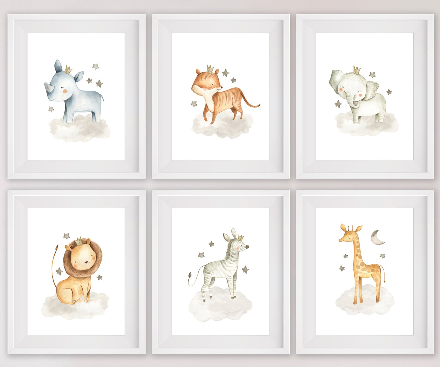 Stickerbrand Nursery Safari Animal Posters (set of 6) 8x10 Prints. Unframed. Great gifts for Baby shower, Kids Bedroom or Bathroom Decor. Baby Elephant, Giraffe, Hippo, Lion, Tiger and Zebra #P1005