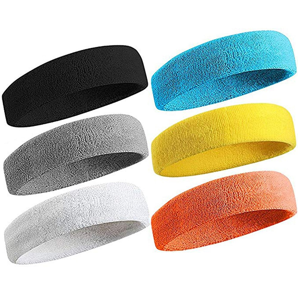 (6Pcs Headband) - Sweatband Sports Headband for Men & Women Moisture Wicking Athletic Cotton Terry Cloth Sweatband for Tennis, Basketball, Running, ...