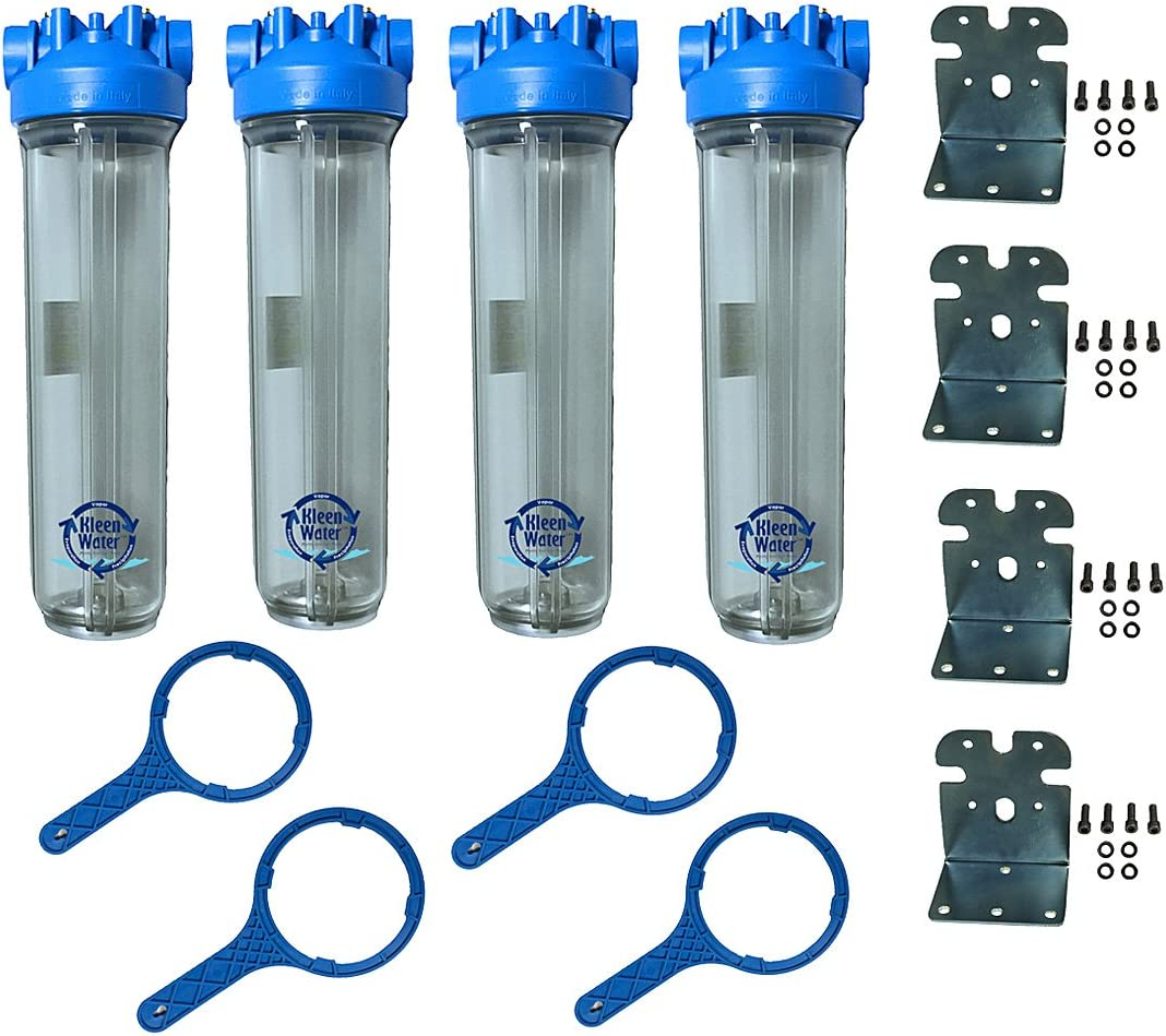 Professional Installer Multi Whole House Water Filter Set – 1 Inch Inlet Outlet – Fits 4.5 x 20 Inch Cartridges not Included – Four Housings, Wrenches and Brackets