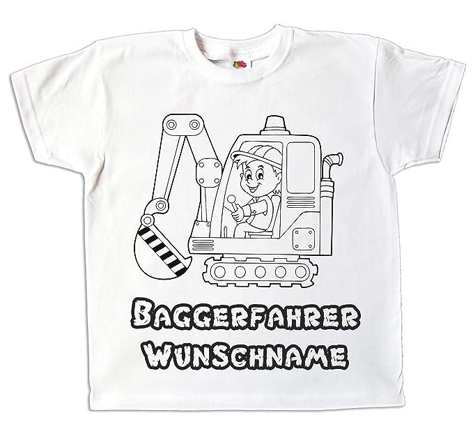 2094bdda93592 Kinder T-Shirt Bagger Jungen Baggerfahrer mit Namen individuell Bedruckt  zum bemalen und ausmalen mit