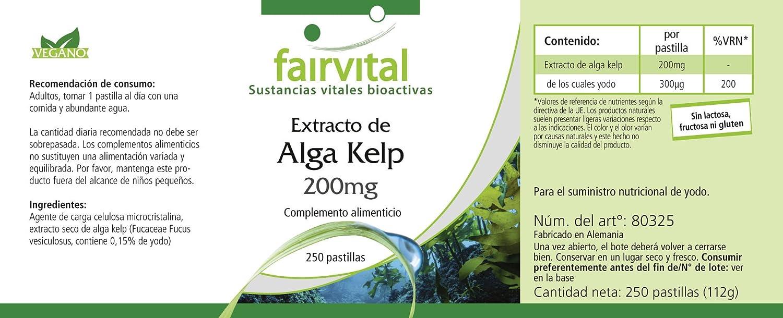 Kelp Extracto de 200 mg con yodo 300mcg, a granel durante 8 meses - VEGANO - 250 comprimidos - yodo natural: Amazon.es: Salud y cuidado personal