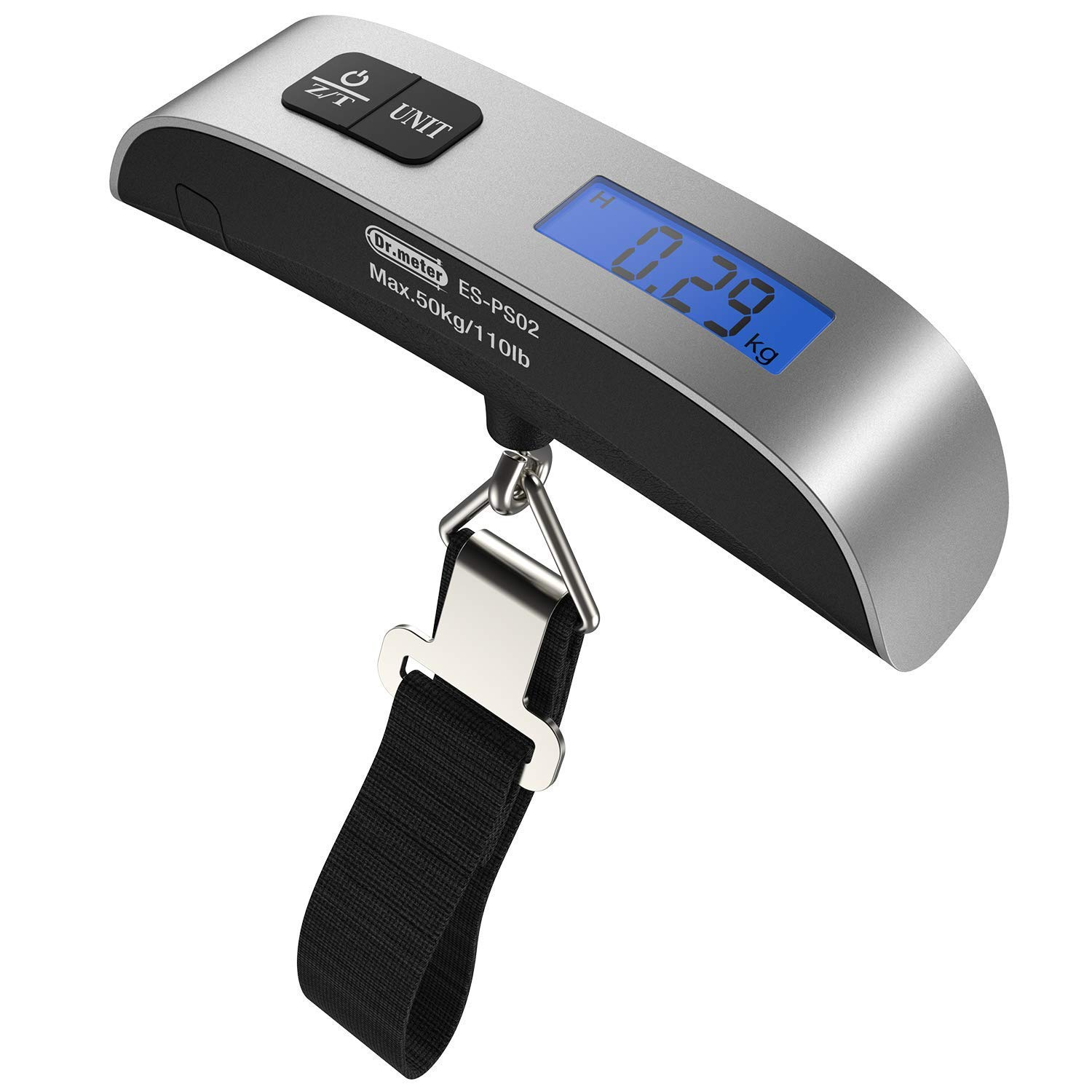 YTYC Backlight LCD Display Luggage Scale,110lb/50kg Electronic Balance Digital Postal Luggage Hanging Scale with Rubber Paint Handle,Temperature Sensor (Silver)
