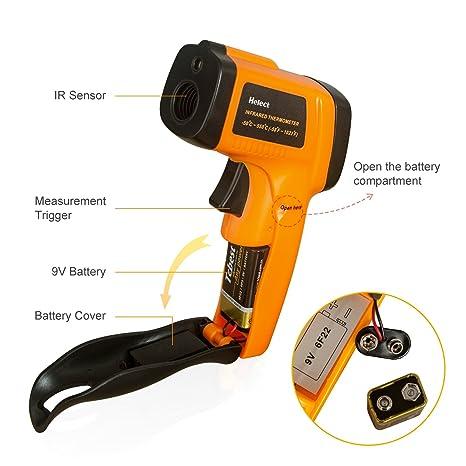 Helect (No para Humanos) Termómetro Infrarrojo Digital Láser Sin Contacto, Pistola de Temperatura -50℃ a 550℃: Amazon.es: Industria, empresas y ciencia