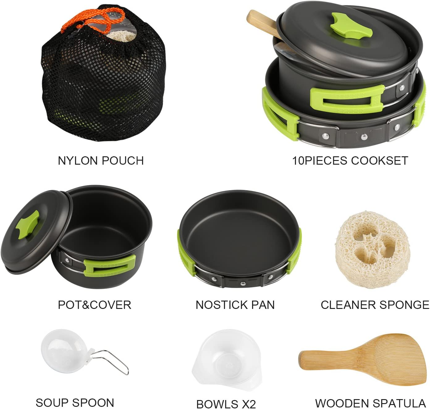 BelleStyle Utensilios Cocina Camping, 1-2 Personas Ligero y Portátil Utensilios de Cocina Camping Pots Set para Exteriores Cámping Mochilero ...