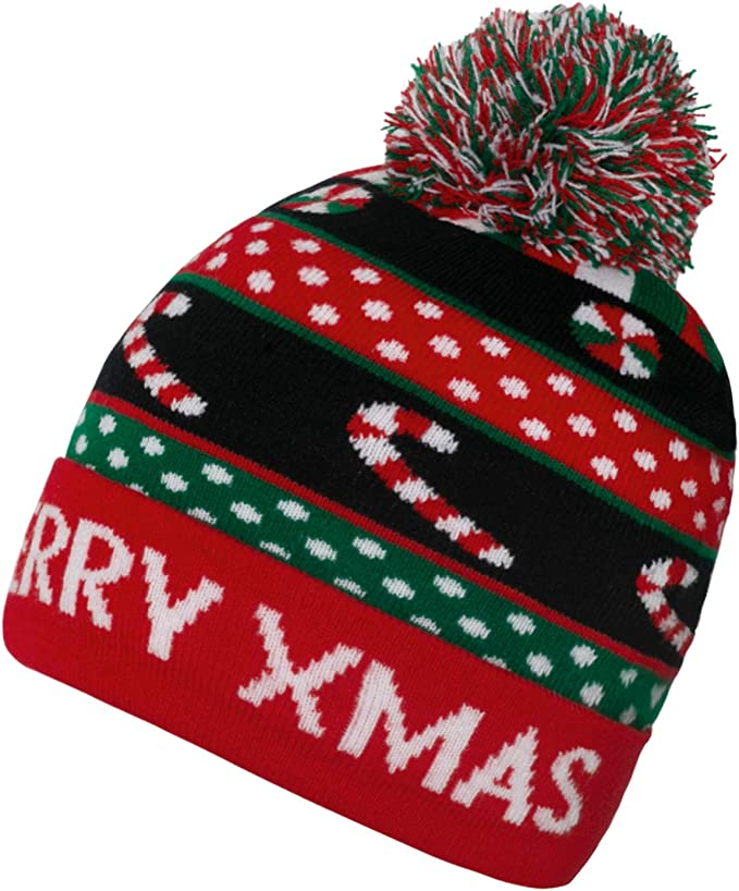 Belovecol Christmas Hats Beanie Knitted Hat LED Light Up Novelty Ugly Xmas Party Cap Bobble Hat for Men Women Boys Girls