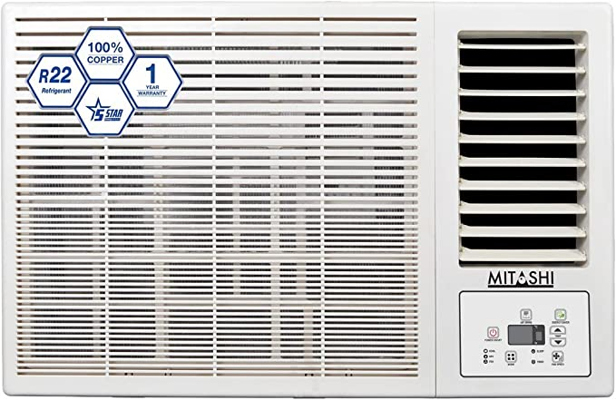 Mitashi 1.5 Ton 5 Star Window AC (Copper, MiWAC155v35, White)