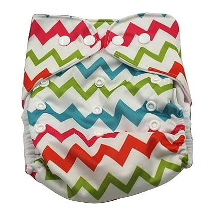 Aivtalk Pañal de Tela TPU Transpirable Lavable Niños Niñas Bebés Cloth Diaper Absorbente - Estampado de
