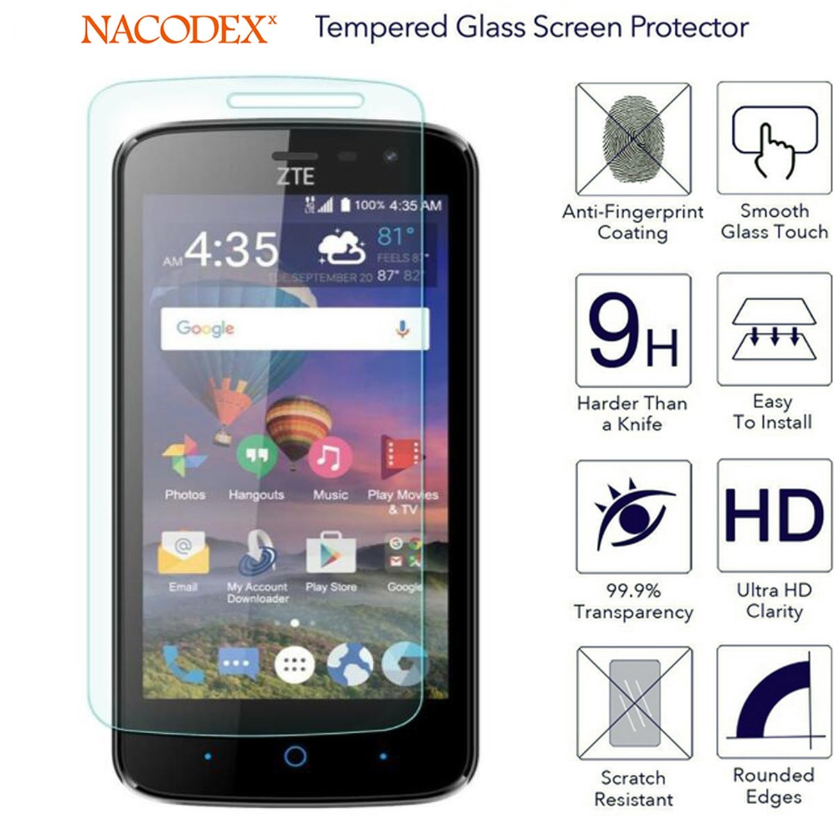 for ZTE Majesty Pro LTE Z798BL Z799VL Tempered Glass Screen Protector with  Lifetime Replacement Warranty