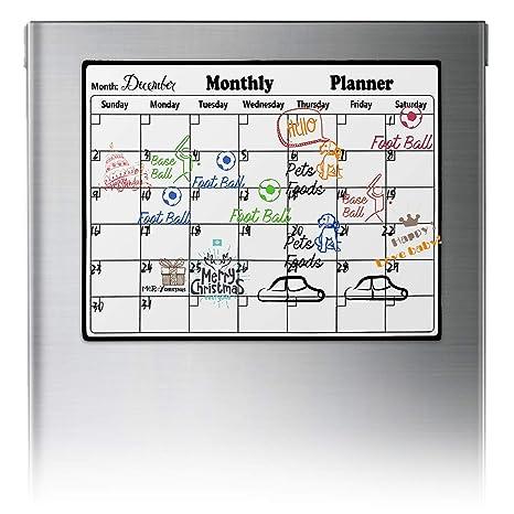 XingYue - Calendario magnético de borrado en seco para frigorífico, Pizarra Blanca, planificador mensual para refrigerador de Cocina, Calendario ...