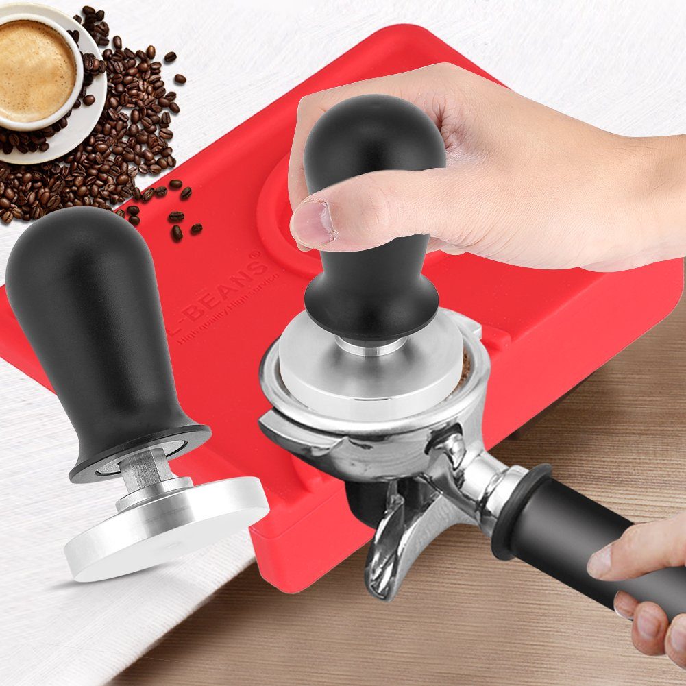 Espresso Tamper,Aramox Stainless Steel Base Rubber Handle Barista Espresso Coffee Tamper Flat Base Coffee Bean Press Tool 51mm