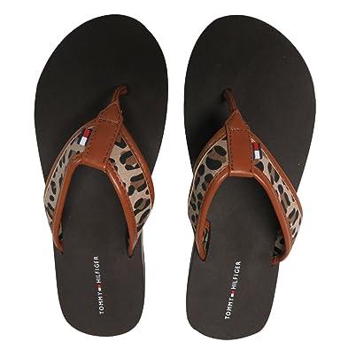 02add1e7ba78 Tommy Hilfiger Women s Flip Flops Brown Leopard w Logo (7)