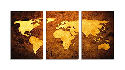 Amazon Com Large 3d Vintage World Map Canvas Wall Art Pictures In