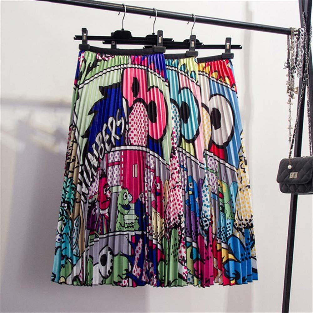 Amazon.com: SIJAKBY faldas largas plisadas con estampado de ...