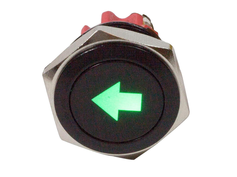 "Alpinetech PLB16MS 16mm 5/8"" 12V LED Metal Signal Indicator Pilot Dash Light (Single Arrow)"