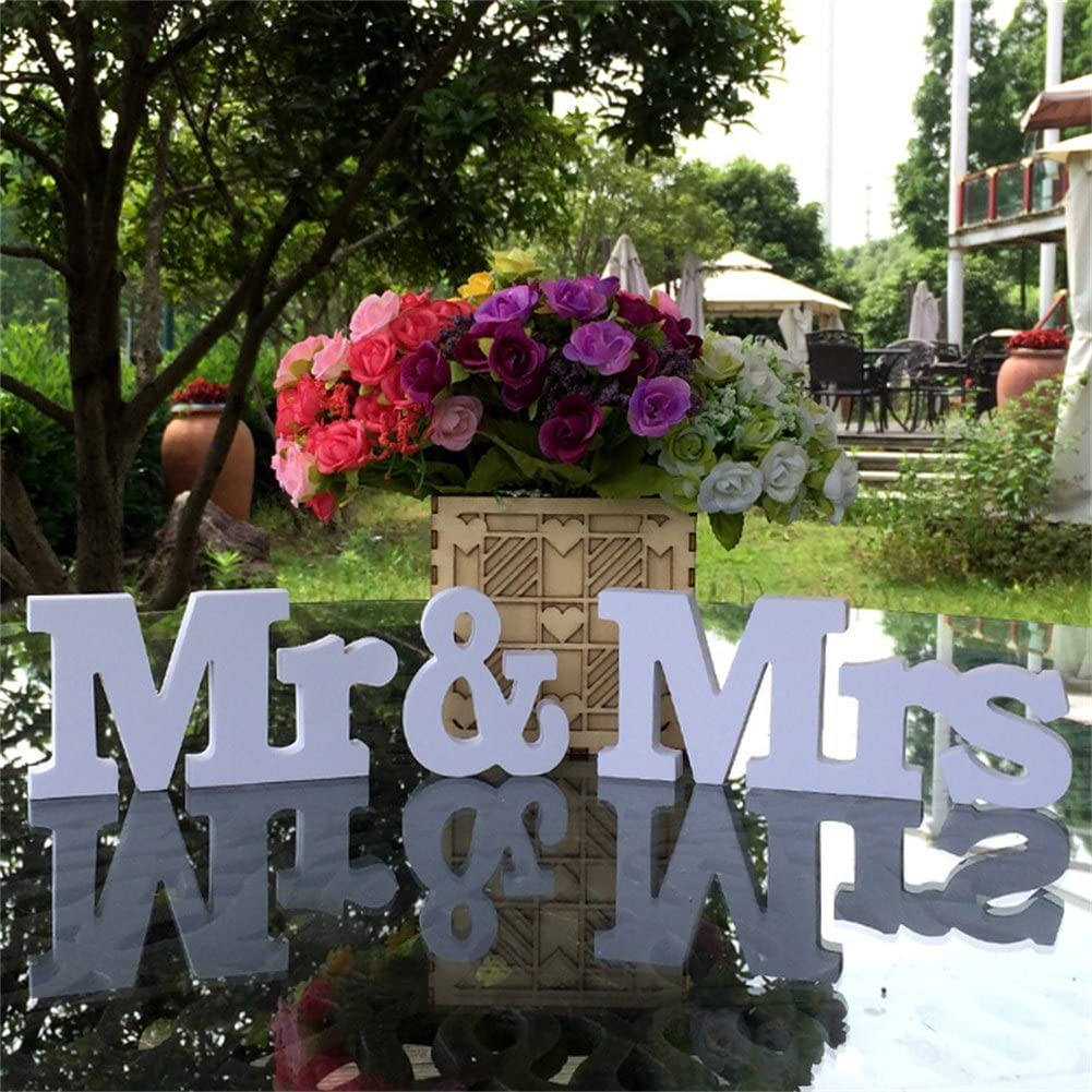 Adeeing Mr and Mrs Sign for Wedding Table White Wooden Letters Sweetheart Table Decorations Large Freestanding Mr & Mrs Wood Letters for Photo Props, Rustic Wedding Decoration, Anniversary Party Decor