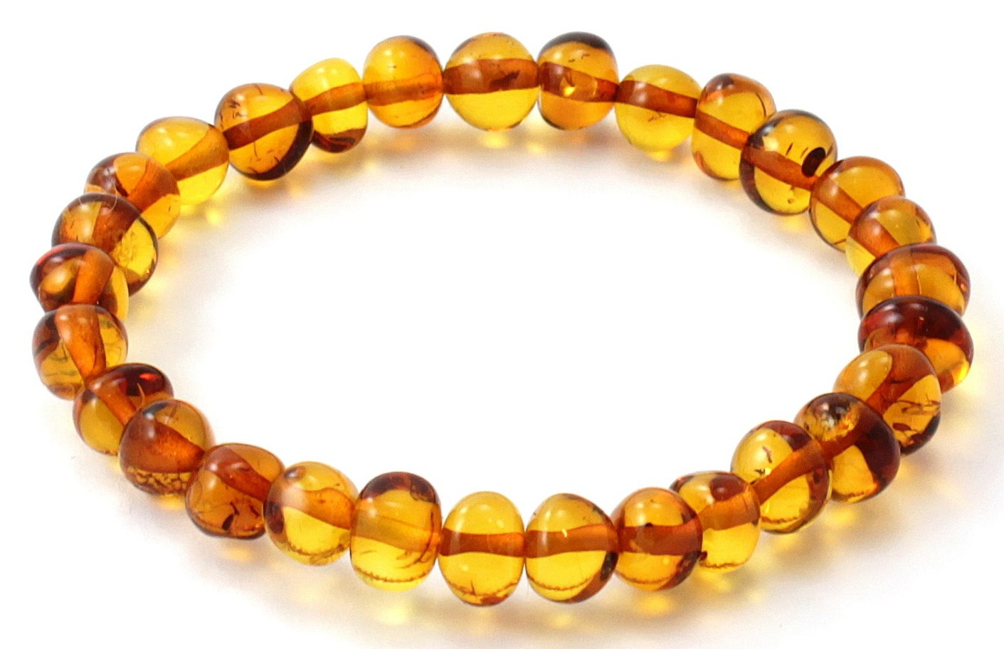 Baltic Amber Bracelet - Adult Size (Women and Men) - 7 inches - Made on Elastic Band - Polished Baltic Amber Beads - BoutiqueAmber (7 inches, Cognac)