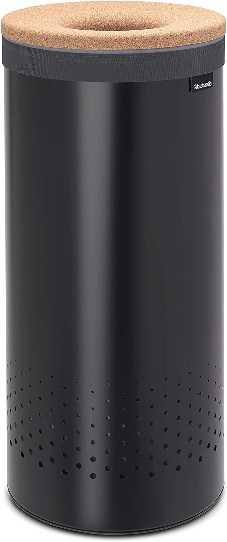 Brabantia 120008 Cork Lid Laundry Hamper with Removable Inner Bag, 9.2 Gallon (35L), Black