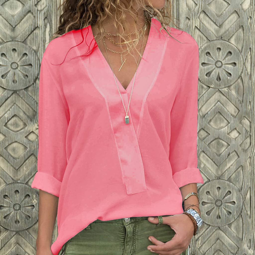 NPRADLA Fashion Womens Daily Casual All Season Long Sleeve V-Neck Chiffon Loose Solid T-Shirt Casual Tops