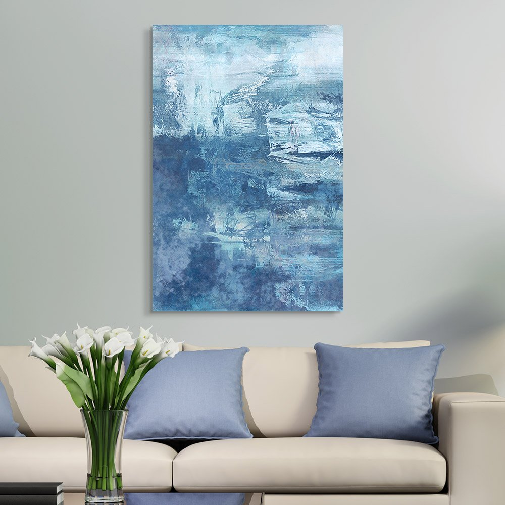 wall26 Canvas Wall Art - Oil Painting Style Abstract Blue Artwork - Giclee Print Gallery Wrap Modern Home Decor Ready to Hang - 16x24 inches